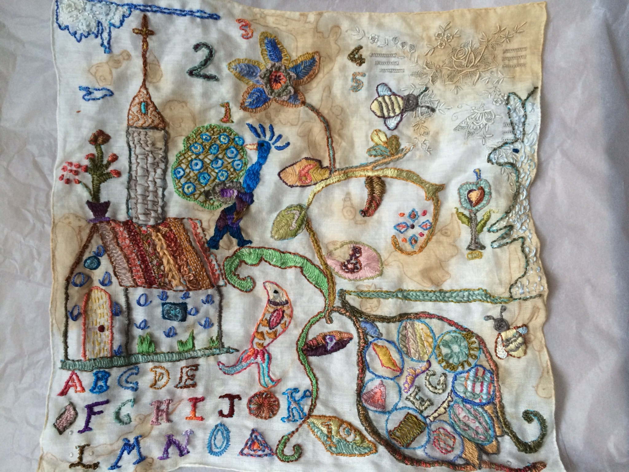 This piece was hand embroidered for the Traces 'Lives, loves and loss' exhibition at Fenton House. This has been a fantastic experience being part of an exhibition involving artists and makers from all disciplines and encompassing all the senses.